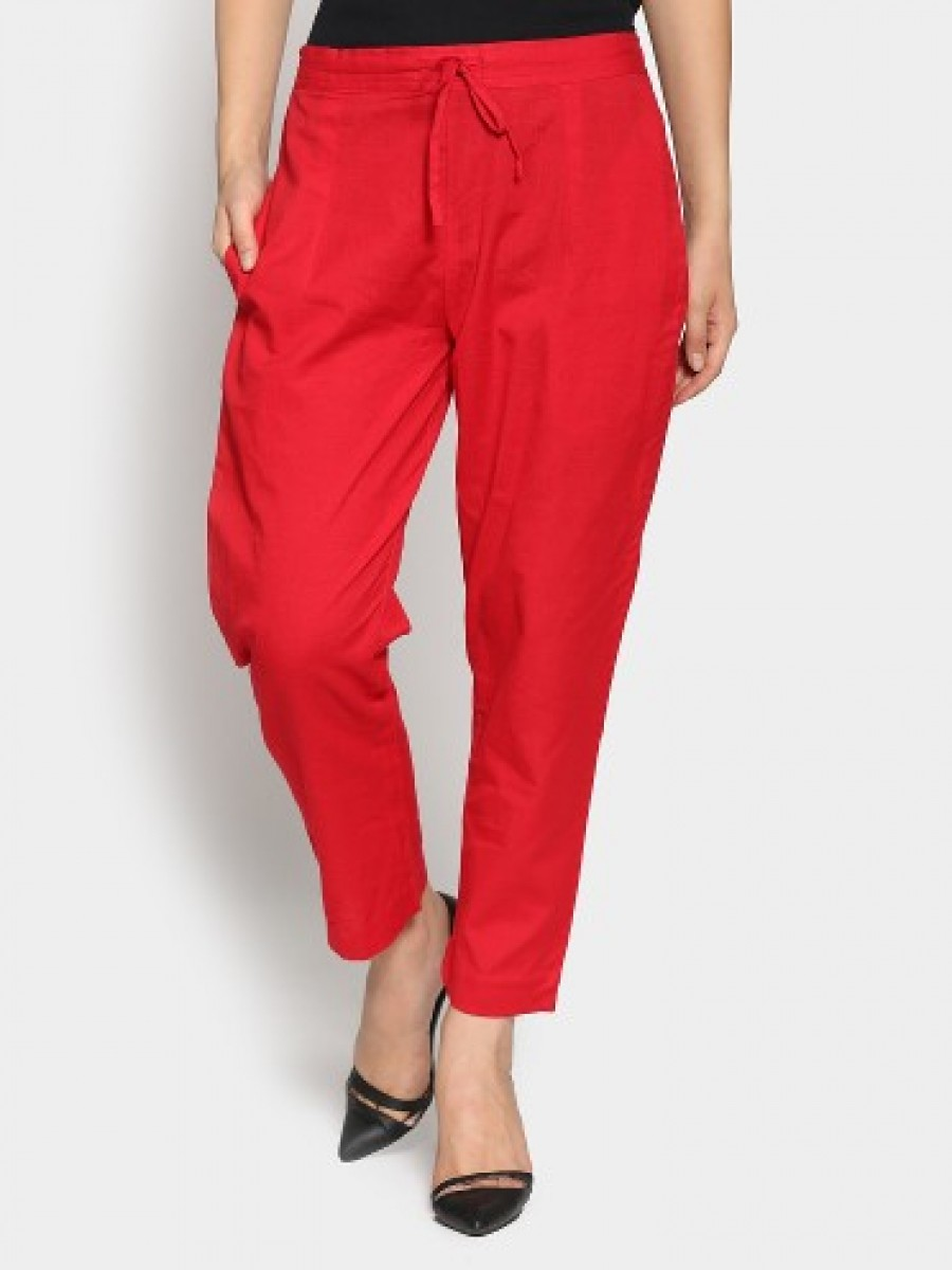 Buy Shree Women Red Casual Regular Fit Pants Online