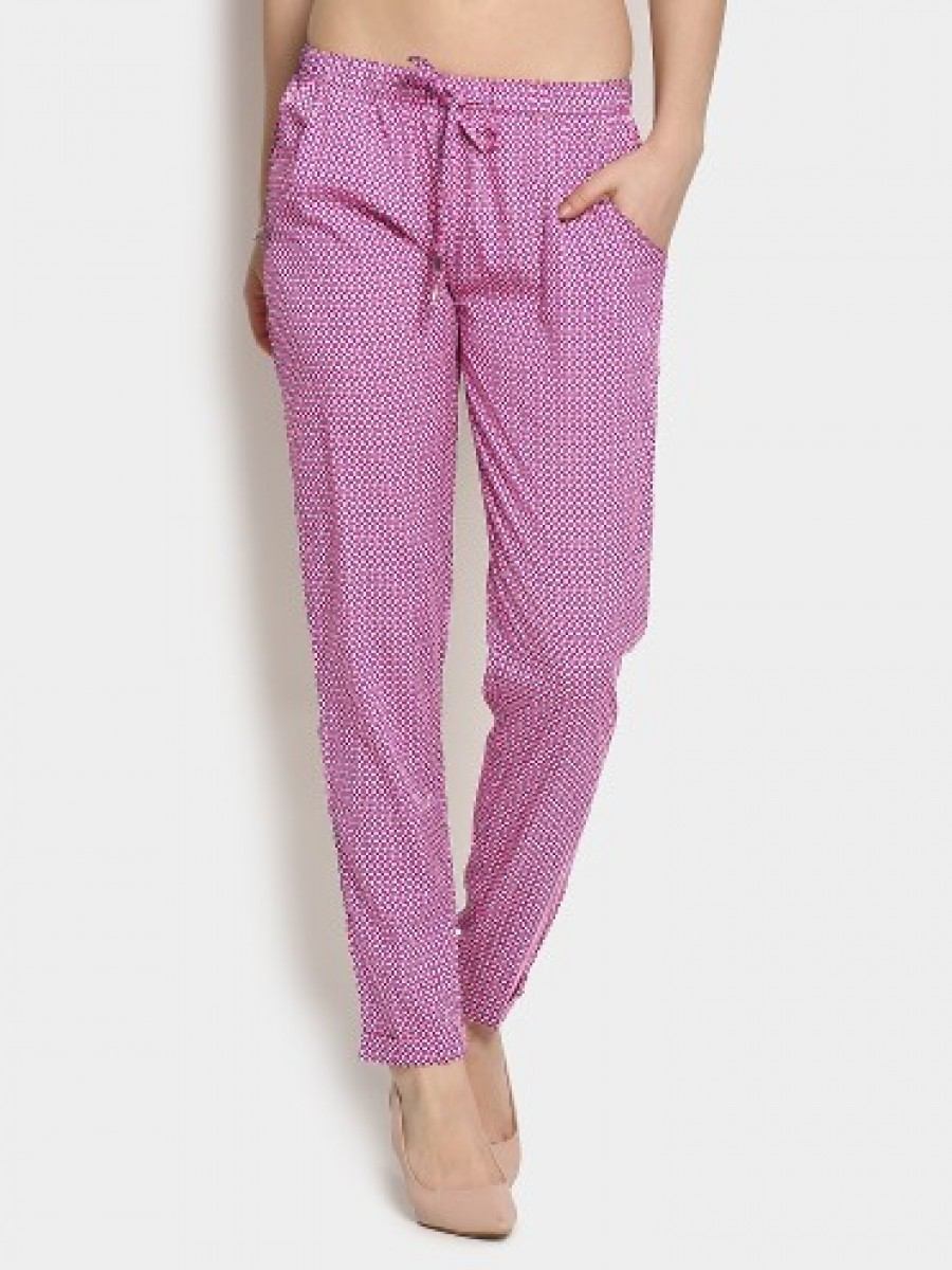 Buy abof Women Pink & Purple Printed Casual Pants Online