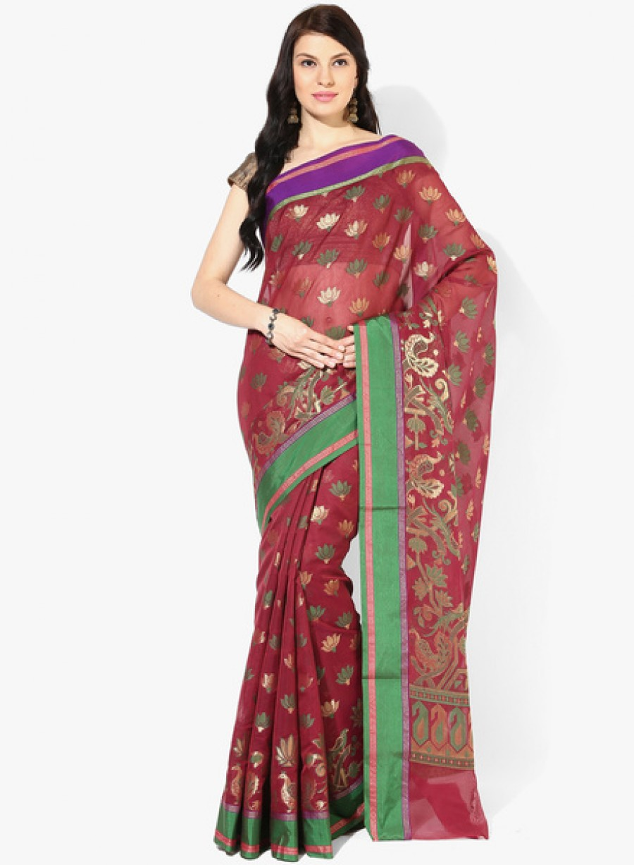 Buy BunkarWine Printed Chanderi Saree Online
