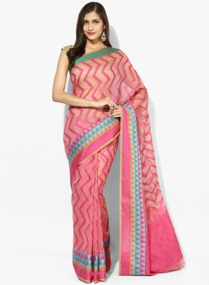 Buy AvishiPink Striped Cotton Silk Saree Online