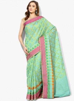 Buy AvishiGreen Printed Cotton Silk Saree Online