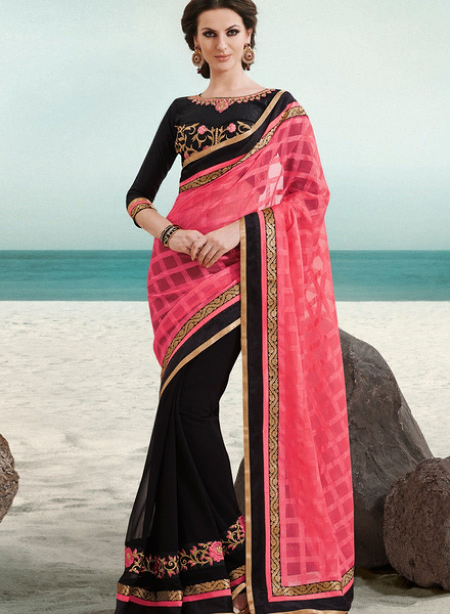 Buy Indian Women By BahubaliPink Embroidered Saree Online