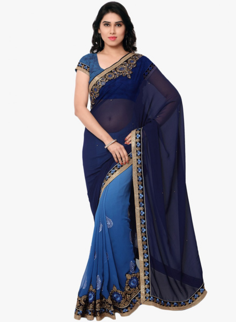Buy AnohaNavy Blue Embellished Saree With Blouse Online