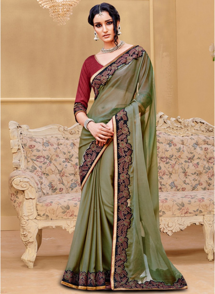 Buy Touch TrendsOlive Embroidered Saree Online