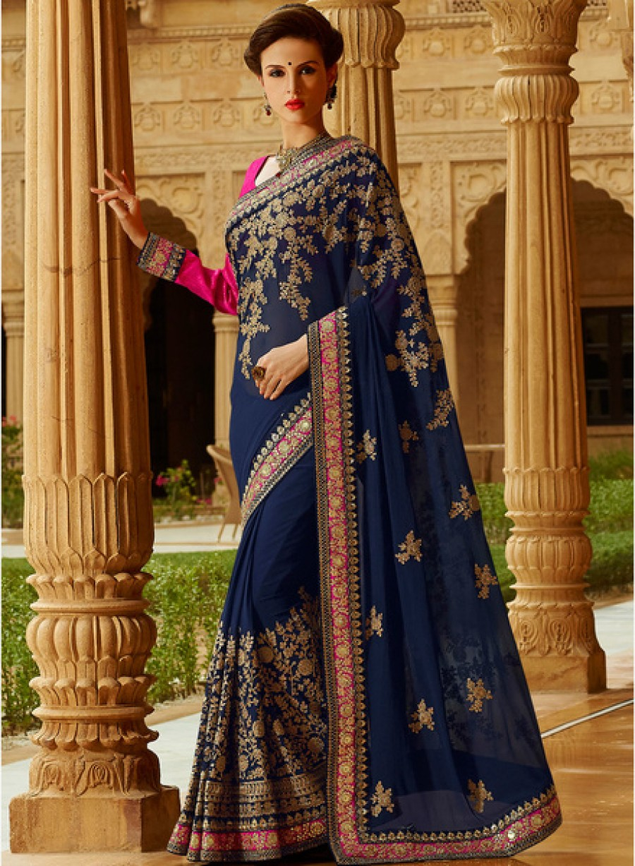 Buy Touch TrendsNavy Blue Embroidered Saree Online