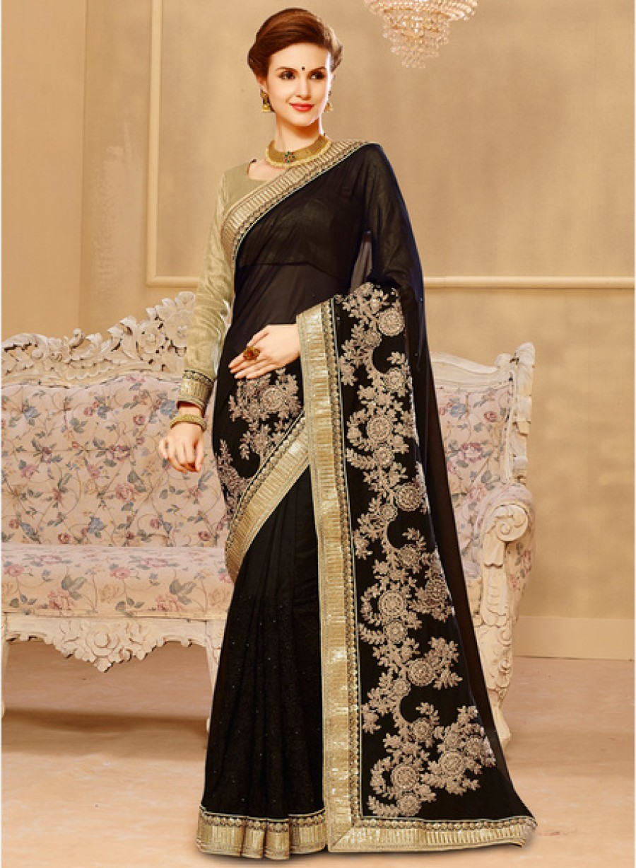 Buy Touch Trends Black Embellished Saree Online