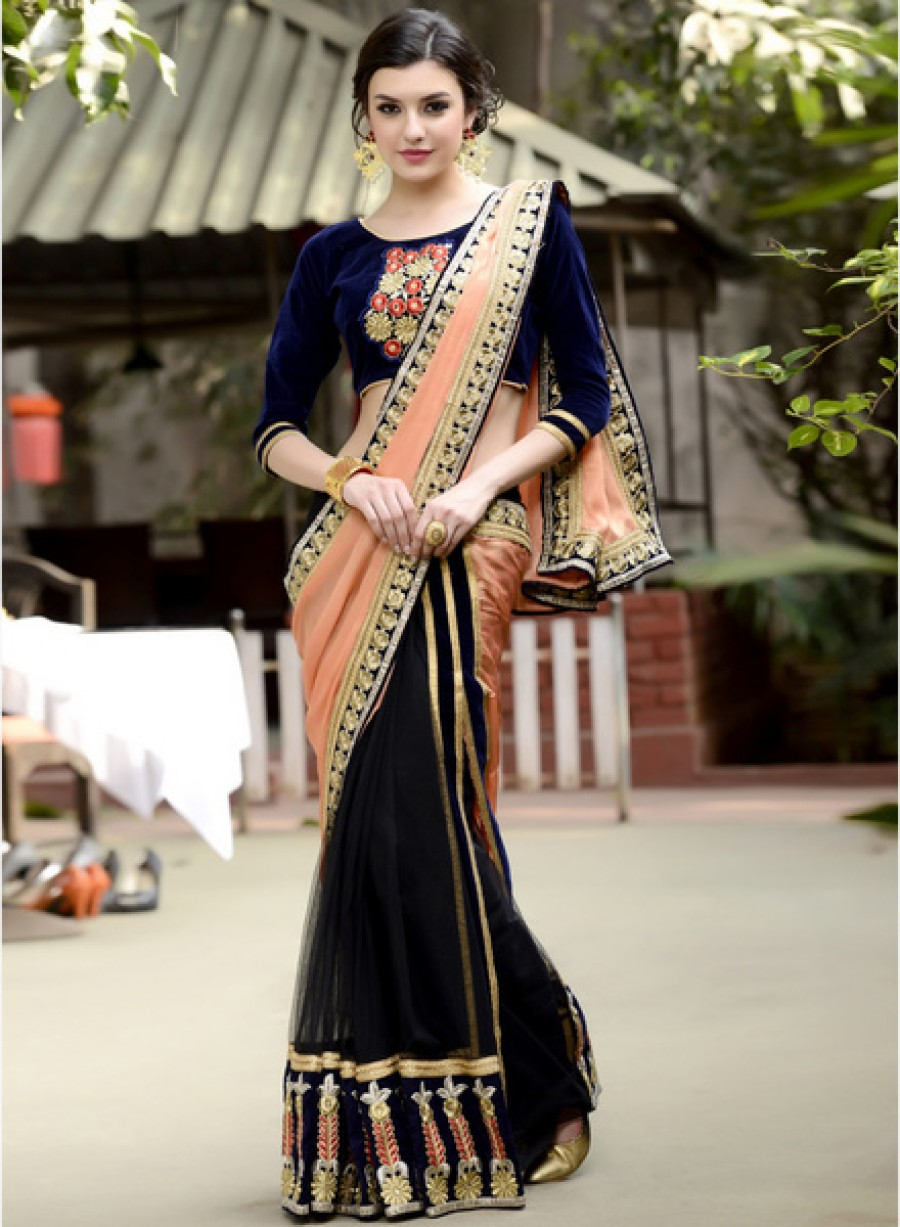 Buy KhwaabPeach Embellished Saree Online