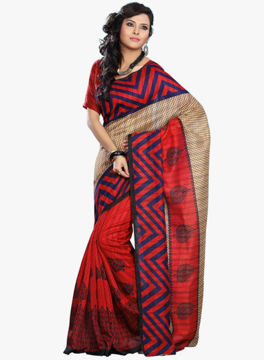 Buy Fashion storeyBeige Printed Saree With Blouse Online