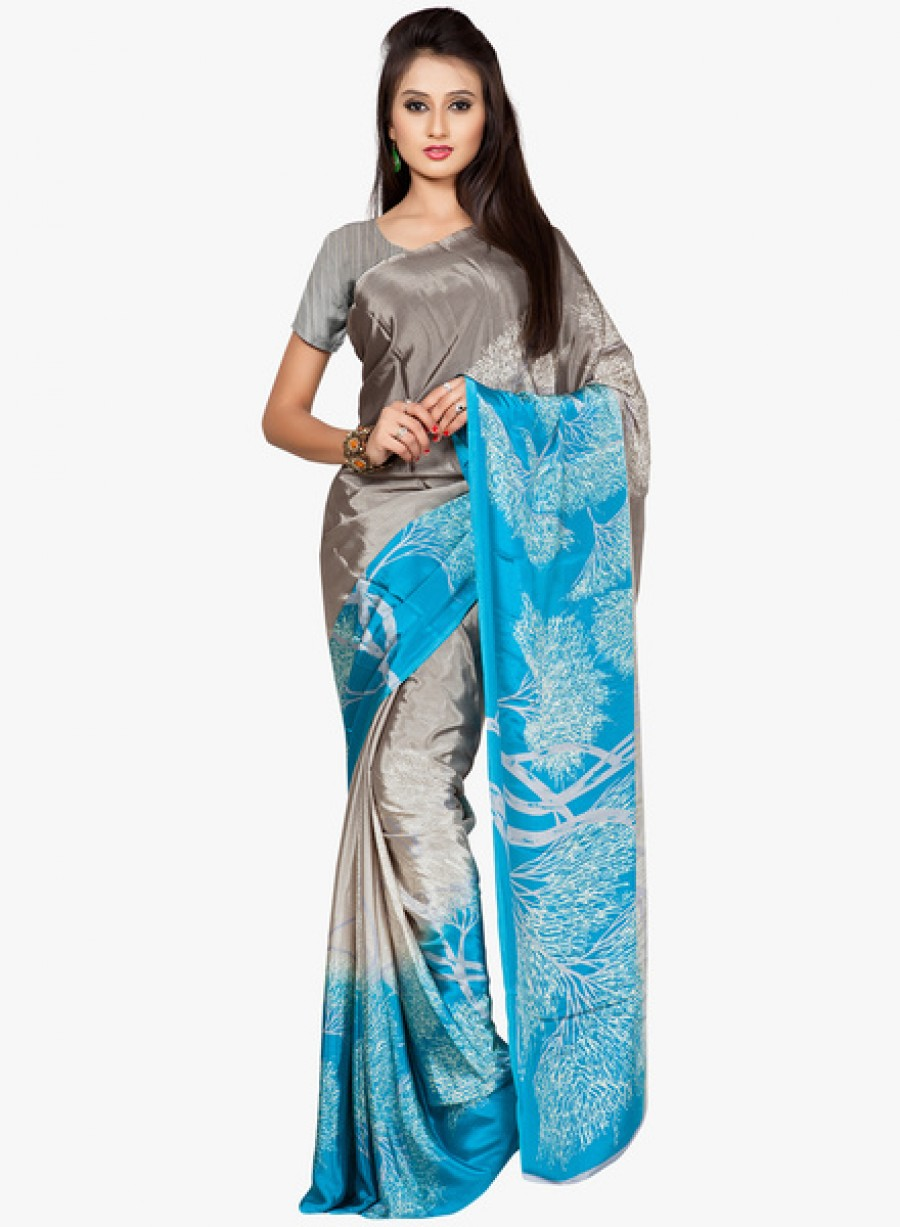 Buy Ethniccrush.comGrey Printed Saree With Blouse Online