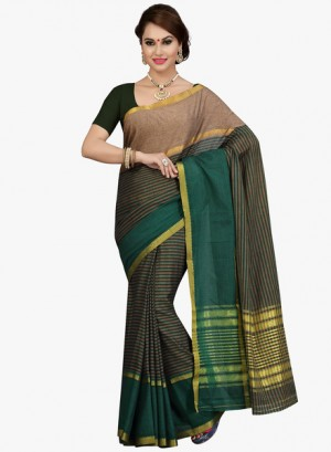 Buy IshinGreen Striped Saree Online