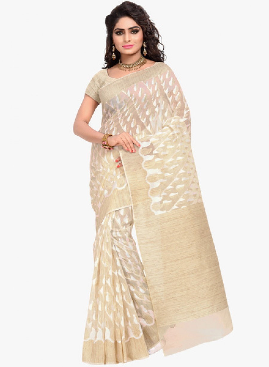Buy Izaa FashionBeige Printed Saree Online