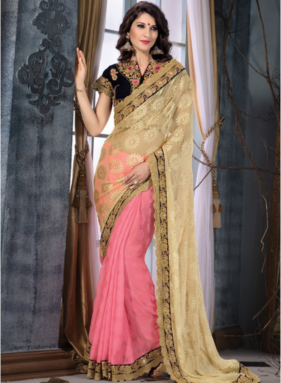 Buy InddusPink Embroidered Saree Online