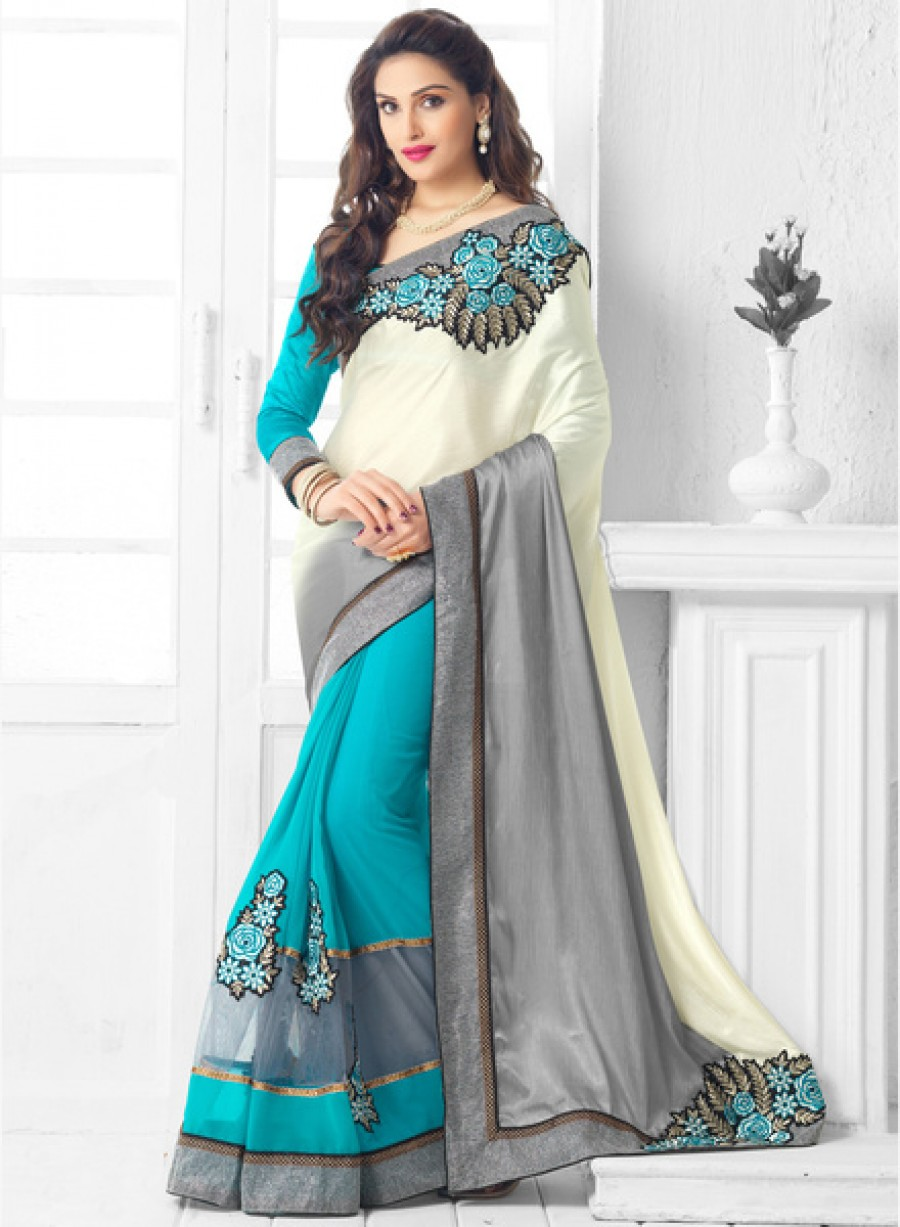 Buy InddusCream Embroidered Saree Online
