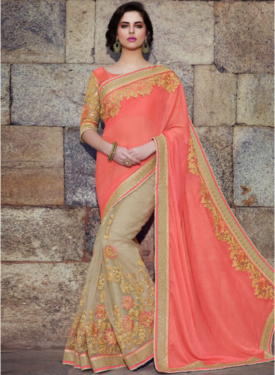 Buy Touch TrendsPeach Embellished Saree Online