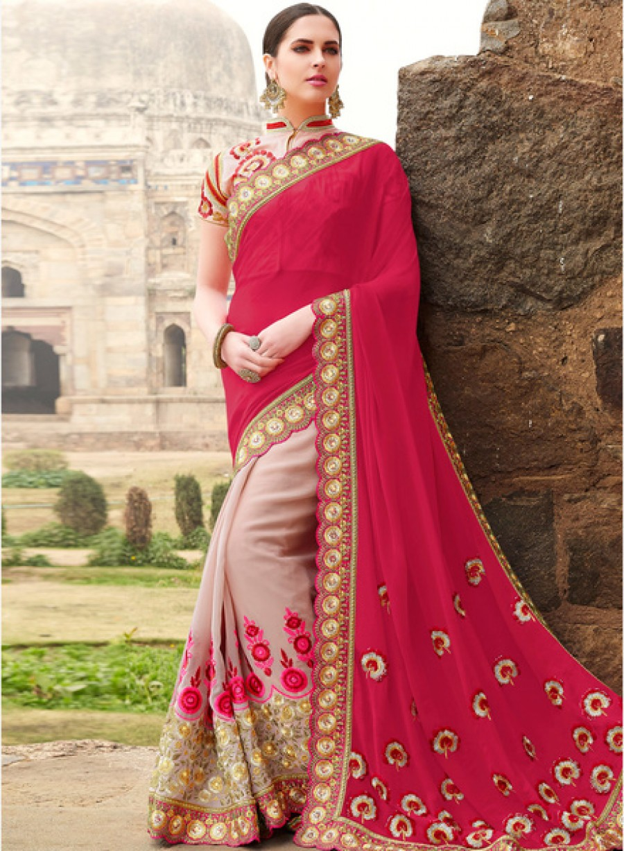 Buy Touch TrendsFuchsia Embellished Saree Online