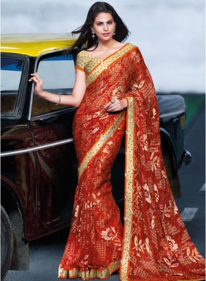 Buy Laxmipati SareeRed Printed Saree Online