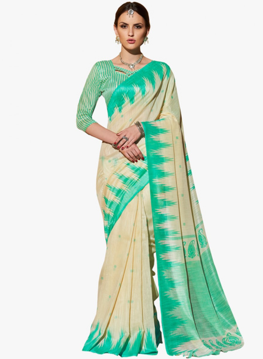Buy Ethniccrush.comBeige Printed Saree With Blouse Online