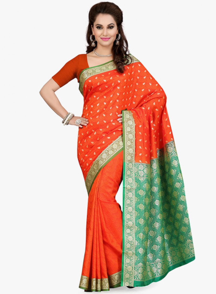Buy IshinOrange Embellished Saree Online