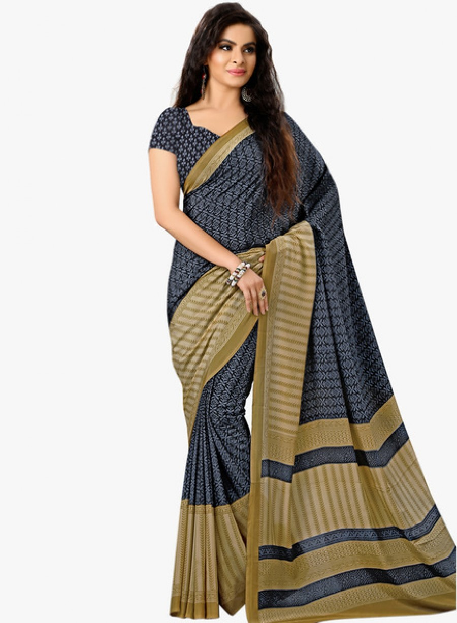 Buy Urban VastraBlack Printed Saree Online