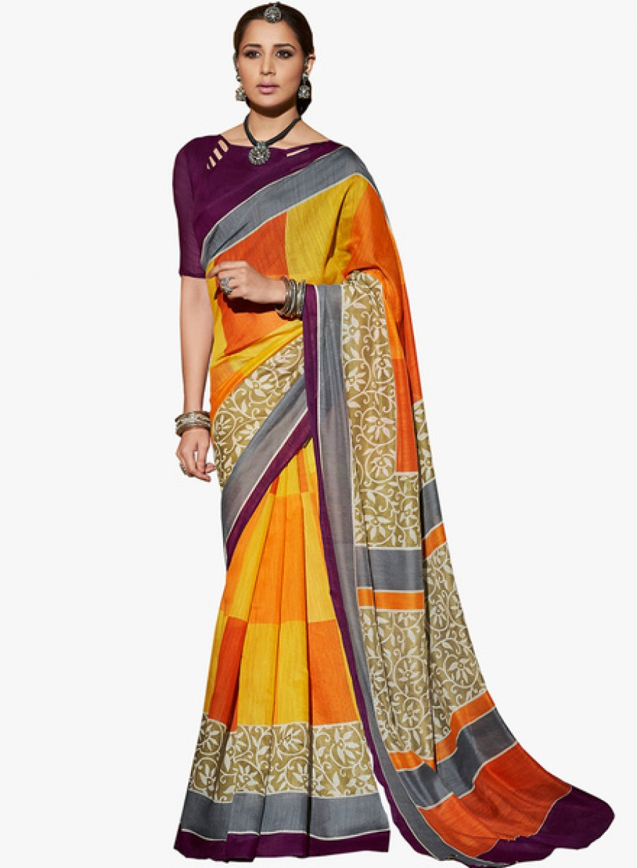 Buy Ethniccrush.comYellow Printed Saree With Blouse Online
