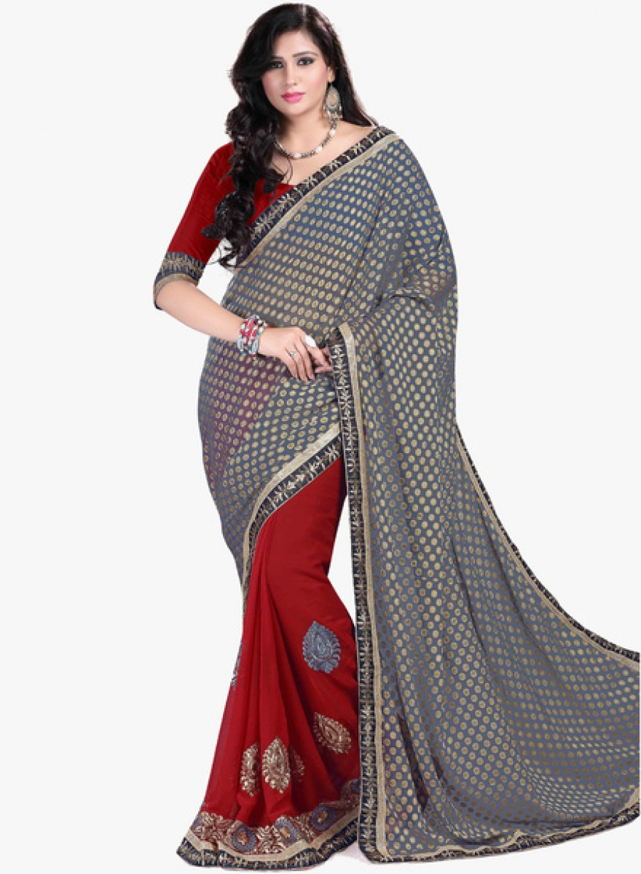 Buy Anoha Blue Embroidered Saree Online