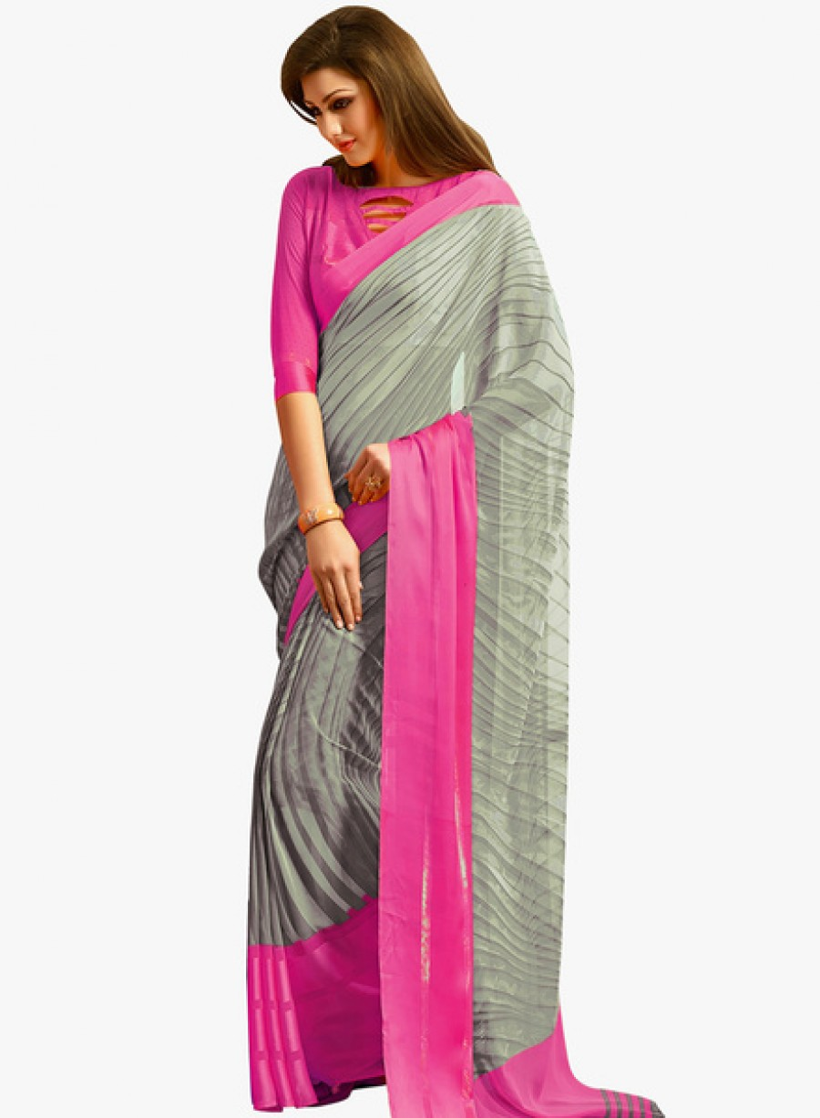 Buy IshinGrey Printed Saree Online