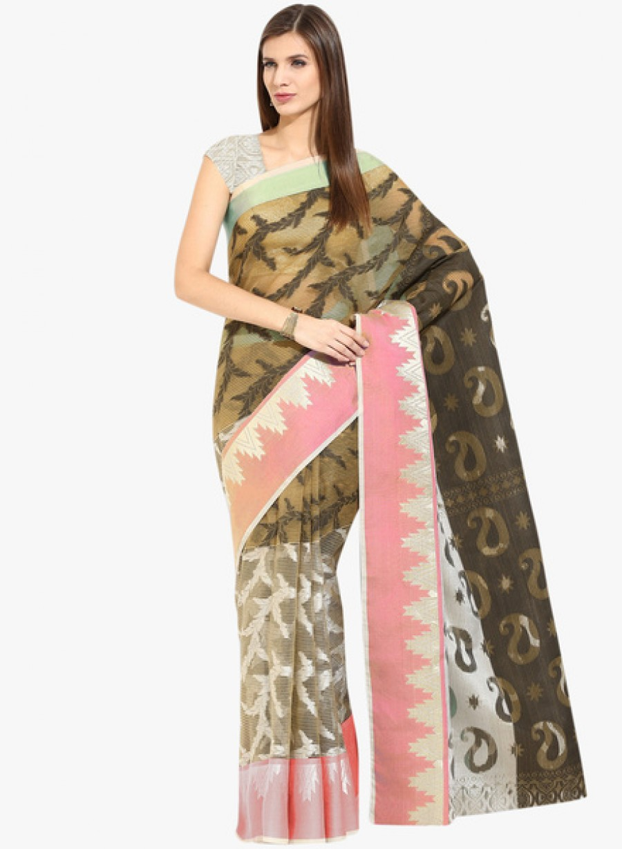 Buy LooksladyMulticoloured Printed Saree With Blouse Online