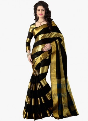 Buy IshinBlack Striped Saree Online