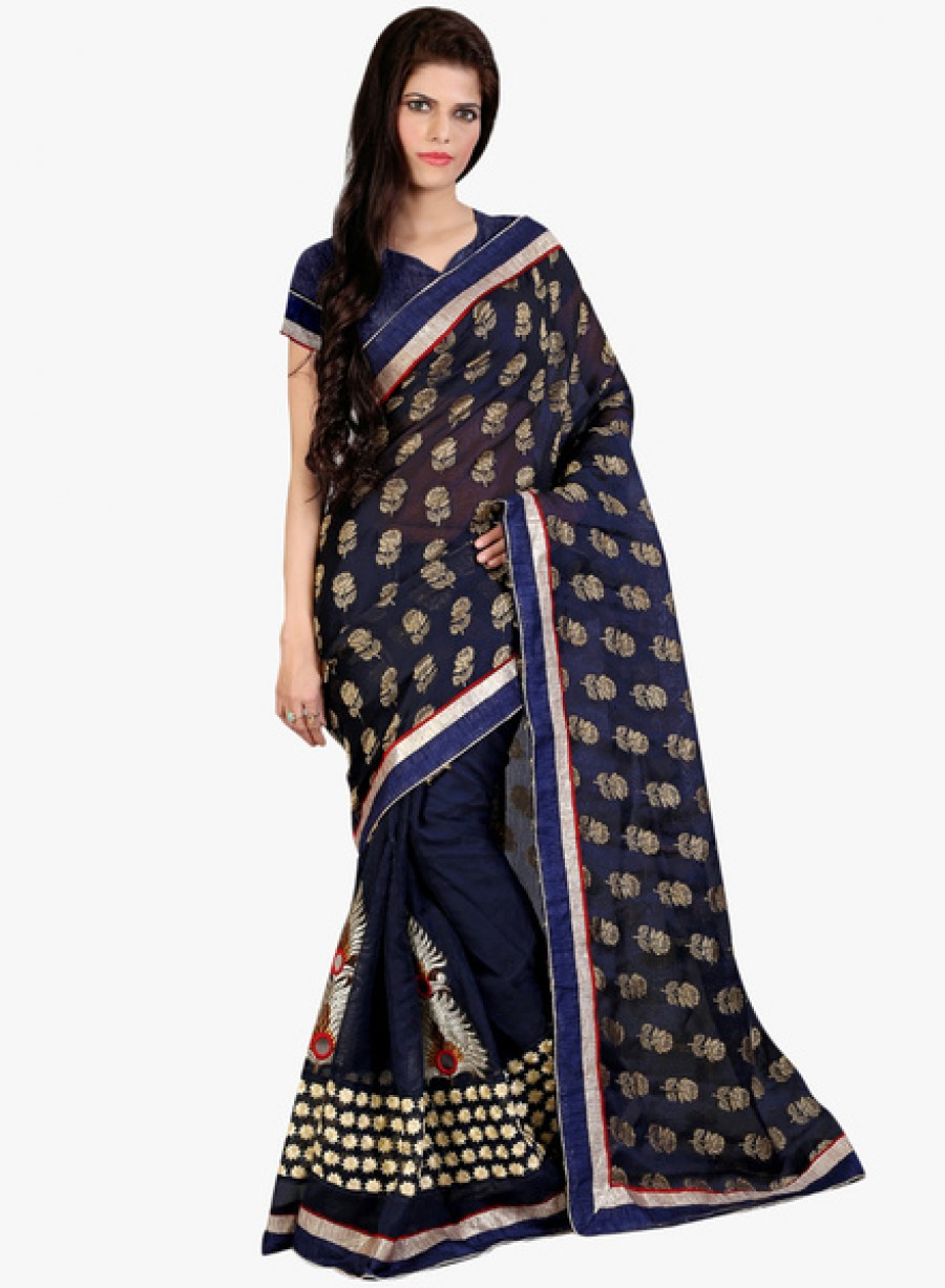 Buy LooksladyNavy Blue Embellished Saree Online