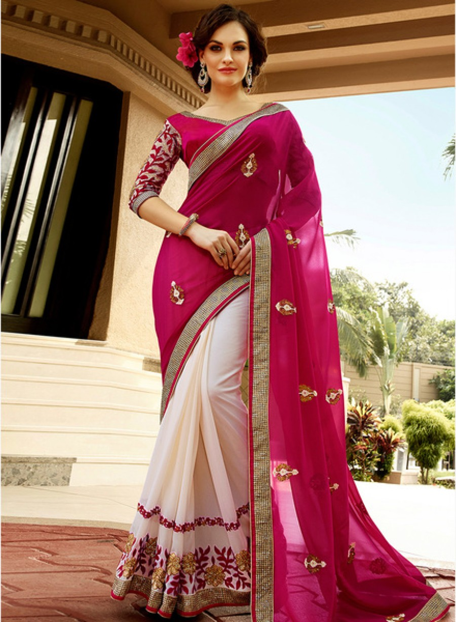 Buy ShonayaPink Embroidered Saree Online
