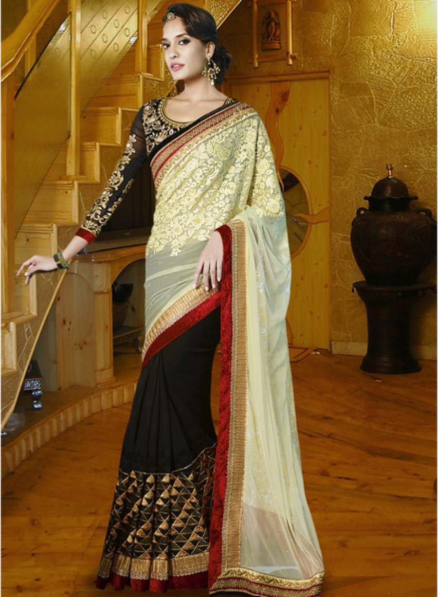 Buy Touch TrendsCream Embroidered Saree Online