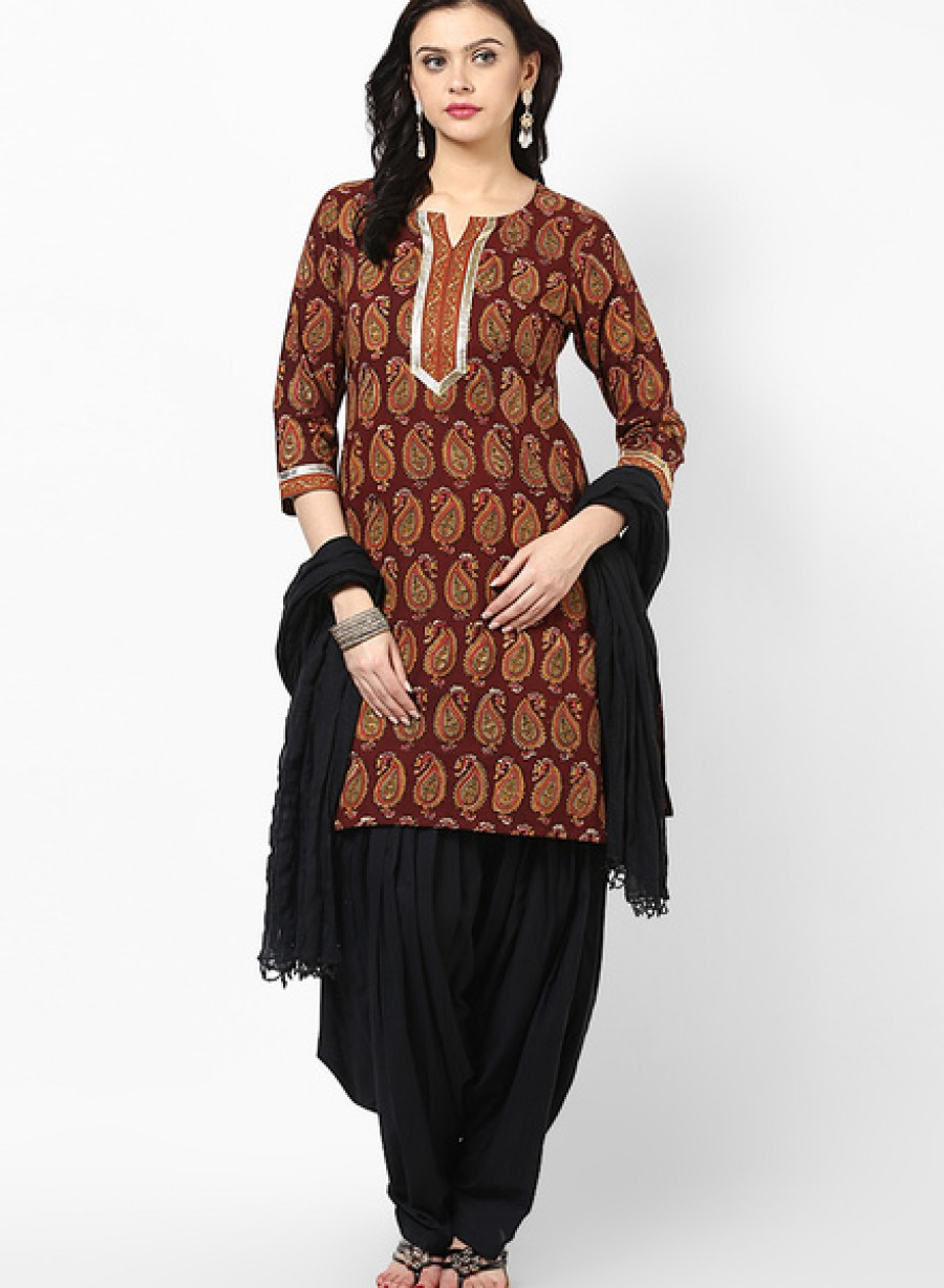 3901a43fa1 Buy Jaipur KurtiCotton Brown Kurti With Black Patiala Salwar And Dupatta  Online