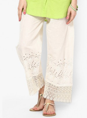 Buy Castle Off-White chikankari Embroidered Palazzo Online