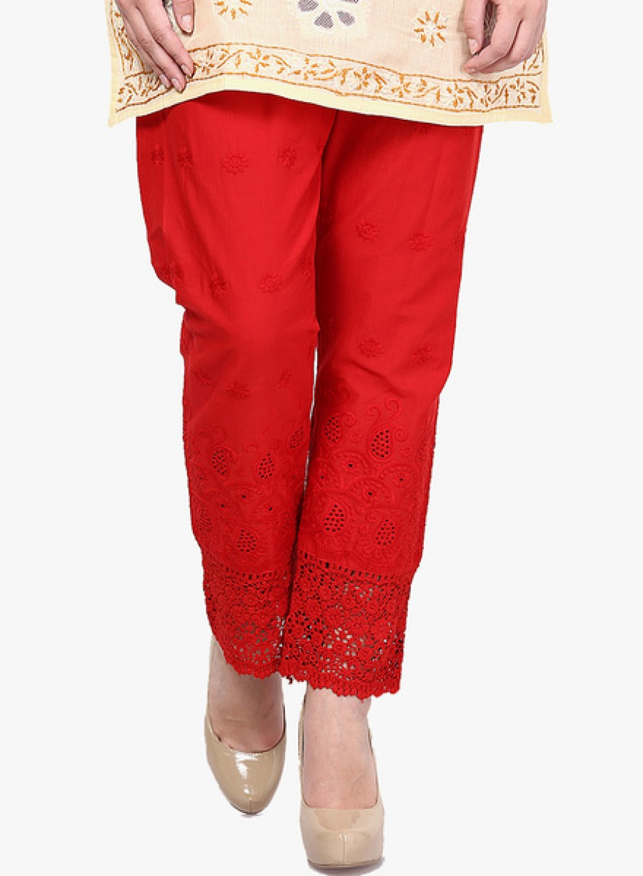 Buy Castle Red chikankari Embroidered Palazzo Online