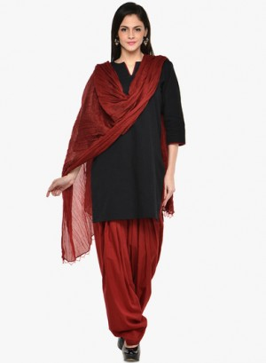 Buy Ashmita Maroon Solids Bottom & Dupatta Sets Online