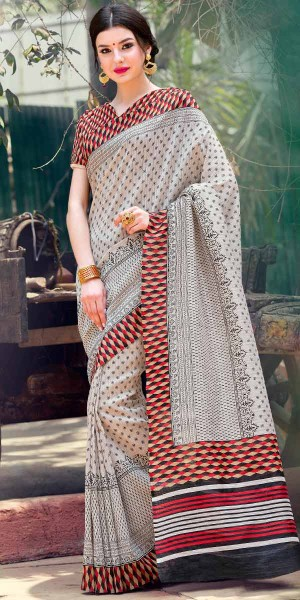 Buy Excellent Off-White And Multi-Color Silk Printed Saree. Online