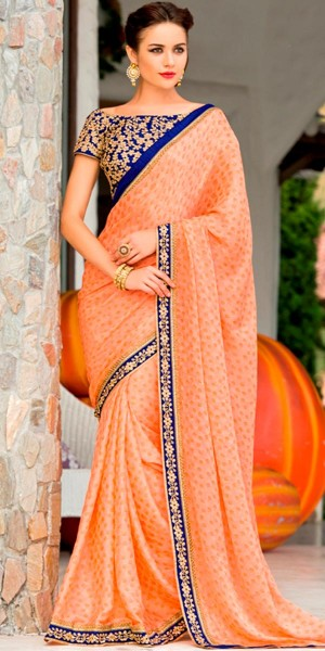 Buy Peach And Navy Blue Luminous Banglori Silk Saree With Blouse. Online