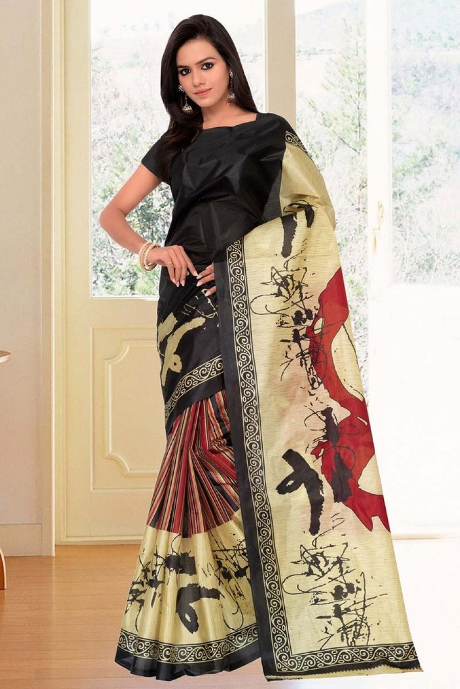 Buy MULTI SILK CASUAL SAREE Online