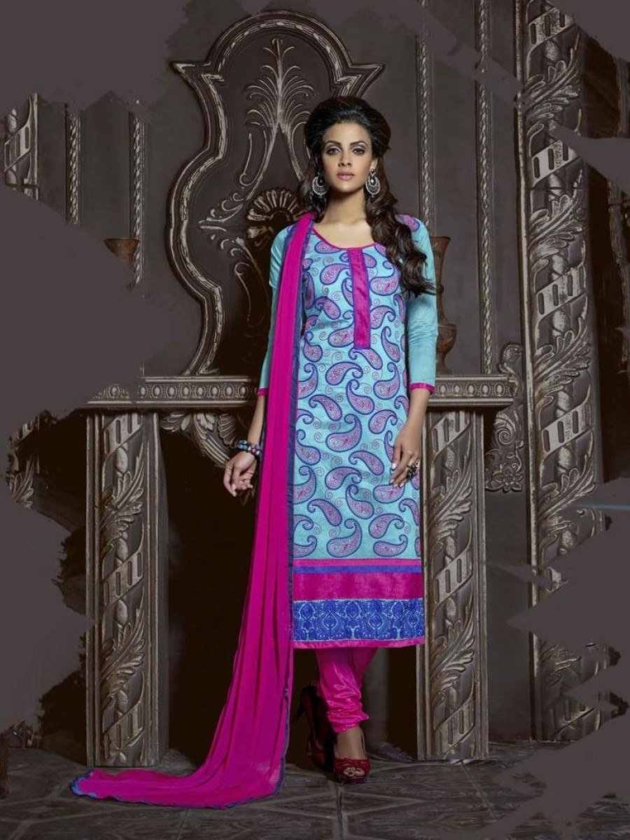 Buy SKY BLUE CHANDERI COTTON EMBROIDERED STRAIGHT CUT DESIGNER DRESS MATERIAL Online