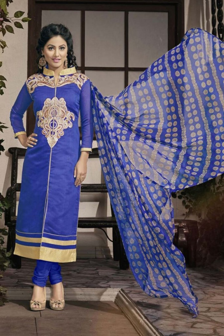 Buy BLUE GEORGETTE CHURIDAR SALWAR KAMEEZ Online