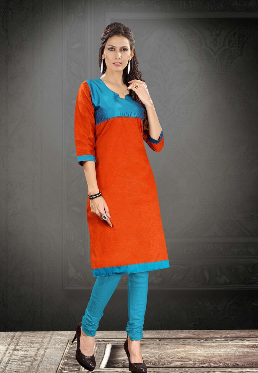 Buy Orange Raw Silk Designer Kurti Online