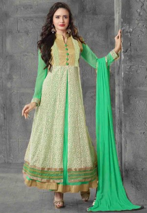 Buy Turquoise  Beige Embroidered Net Semi Stitched Party Wear Anarkali Suit Online