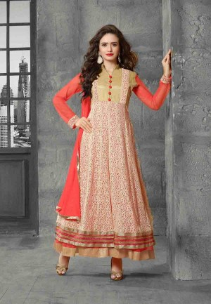 Buy Peach  Beige Embroidered Net Semi Stitched Party Wear Anarkali Suit Online