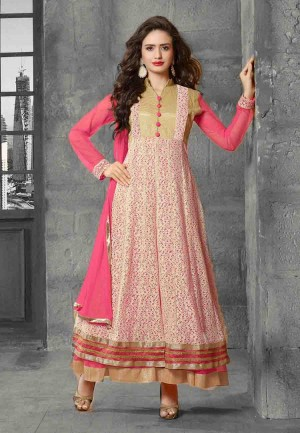 Buy Pink  Beige Embroidered Net Semi Stitched Party Wear Anarkali Suit Online