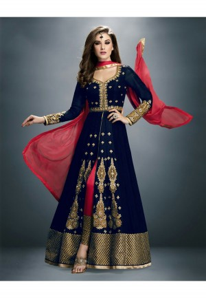 Buy Embroidered DarkBlue Bhagalpuri  Georgette Semi Stitched Party Wear Anarkali Suit Online
