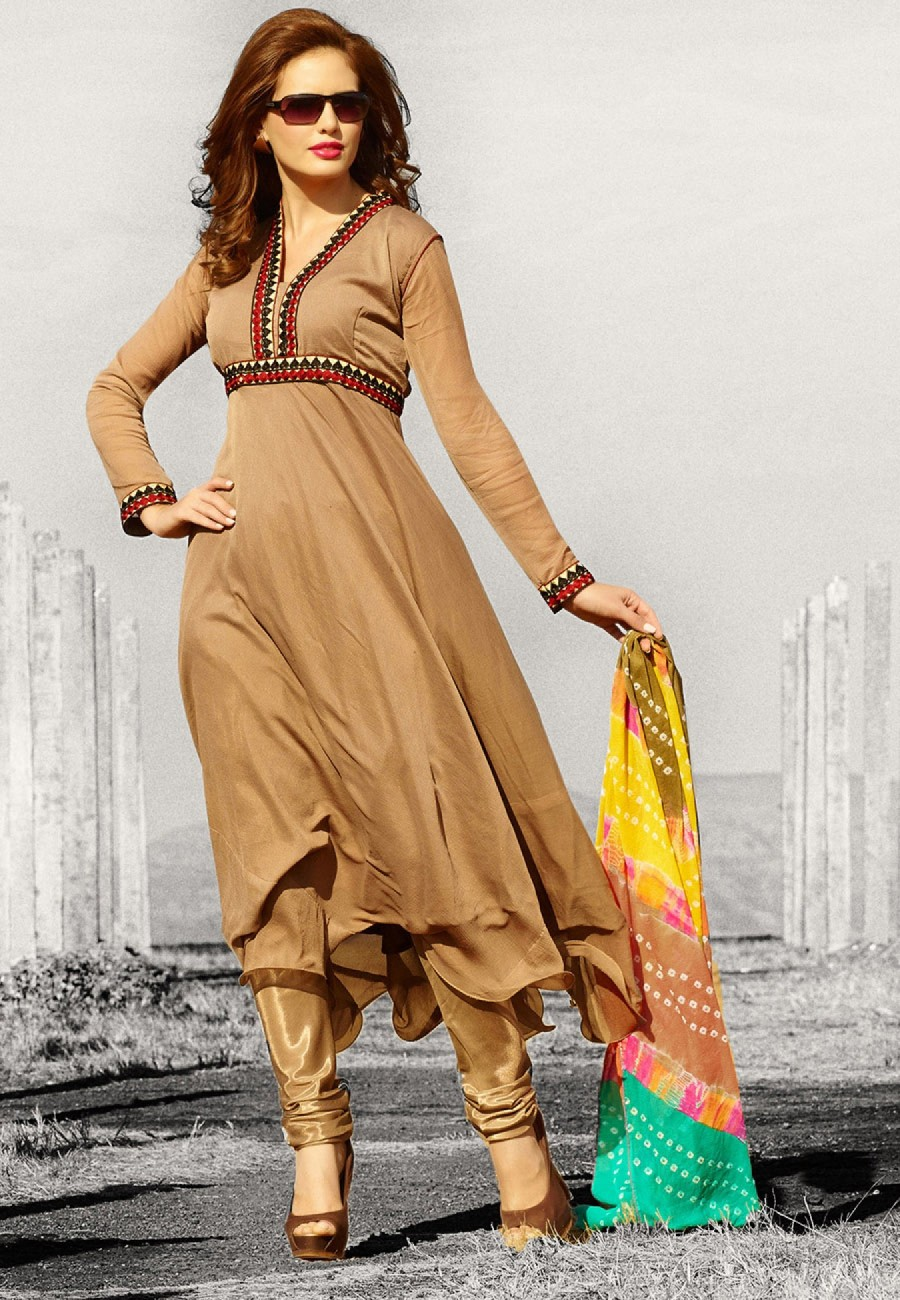 Buy Brown Pure Chiffon Anarkali Suit. Top Stitched, Bottom Unstitched. Online
