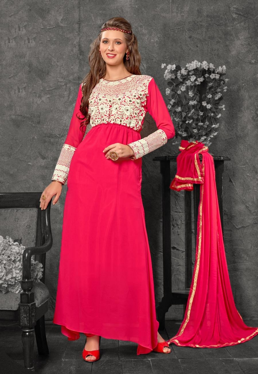 Buy Pink Semi Stitched Georgette Anarkali Suit Online