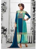 Blue  Turquoise Embroidered Georgette  Net Semistitched Salwar Suit