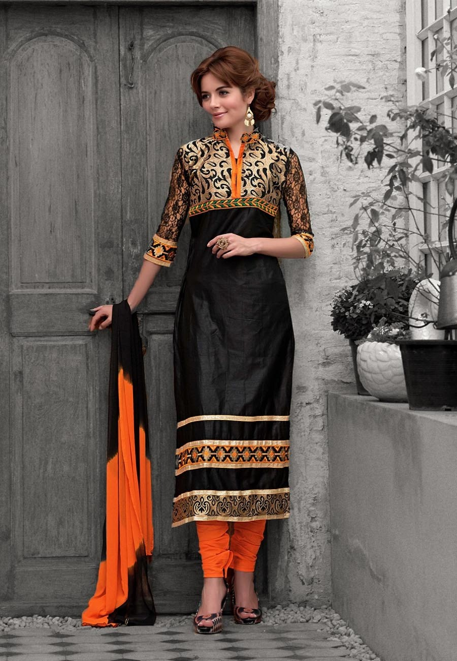 Buy Black  Orange Embroidered Cotton Semi Stitched Salwar Suit Online