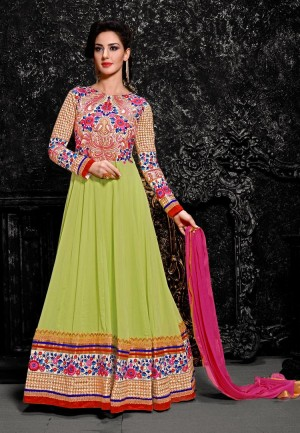 Buy Green  Pink Embroidered Georgette Semistitched Anarkali Suit Online